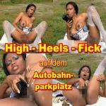 High-Heels-Fick auf dem Autobahnparkplatz. Angebote verkaufe